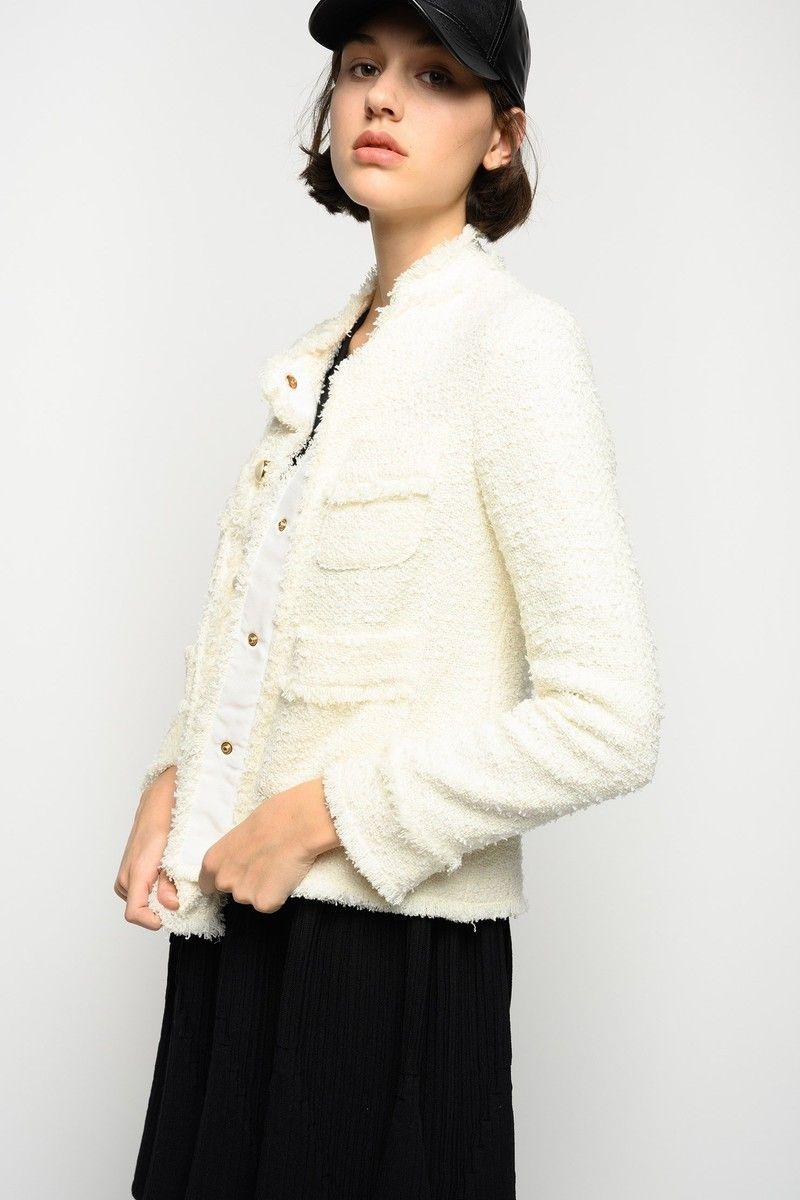 Giacca tweed bianca Pinko