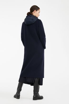 Cappotto in lana con gilet in taffetà donna Blu Weekend