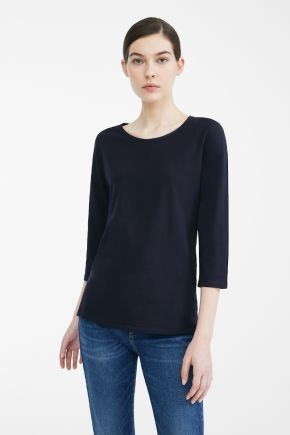 T-shirt a manica lunga in jersey di cotone donna Blu Weekend