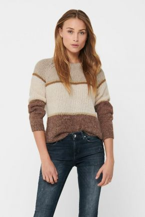 Pullover a strisce donna Beige Only