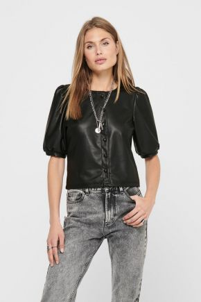 T-shirt ecopelle donna Nero Only