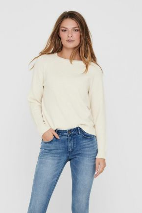 Pullover girocollo donna Bianco Only