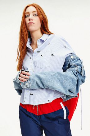 Camicia in cotone biologico con motivo all over donna Azzurro Tommy Hilfiger Jeans