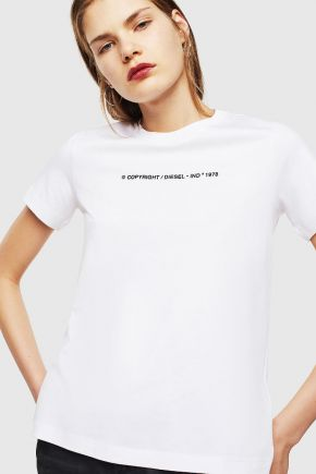 T-shirt in cotone con logo Copyright donna Bianco Diesel