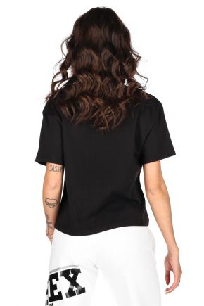 T-shirt cropped donna Nero Pyrex