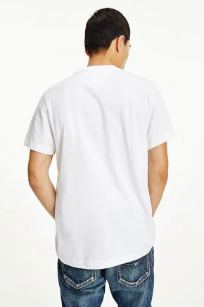 T-shirt in cotone con logo color block uomo Bianco Tommy Hilfiger Jeans