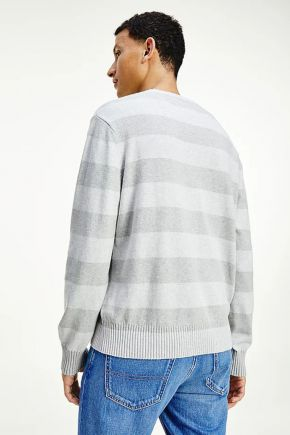 Pullover relaxed fit a righe uomo Grigio Tommy Hilfiger Jeans