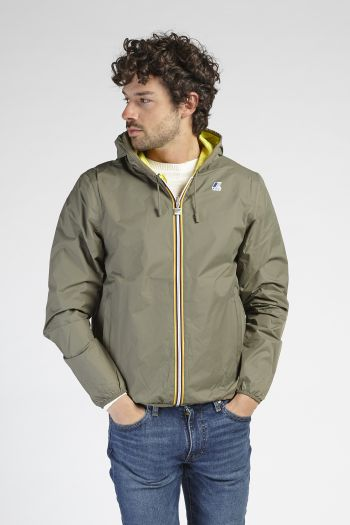 K-way double-face con cappuccio uomo Verde oliva K-way
