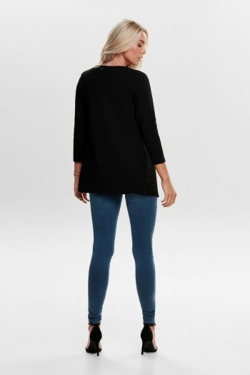 Cardigan Long Loose donna Nero Only