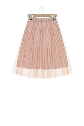 Gonna plissettata in tulle cangiante bambina Rosa Dixie