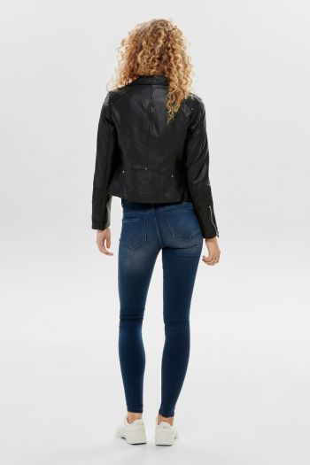 Giacca in ecopelle con zip asimmetrica donna Nero Only