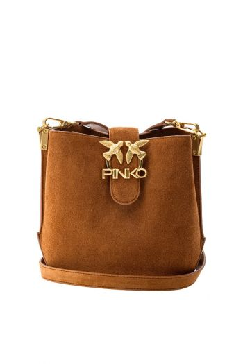 Bucket Love Bag in suede e pelle donna Marrone Pinko