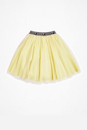 Gonna Lurex con logo in vita ragazza Giallo Guess