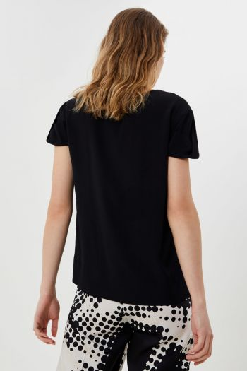 T-shirt in misto seta Donna Nero Liu-jo