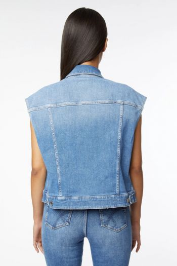 Gilet in jeans boxy donna Azzurro Gas Jeans
