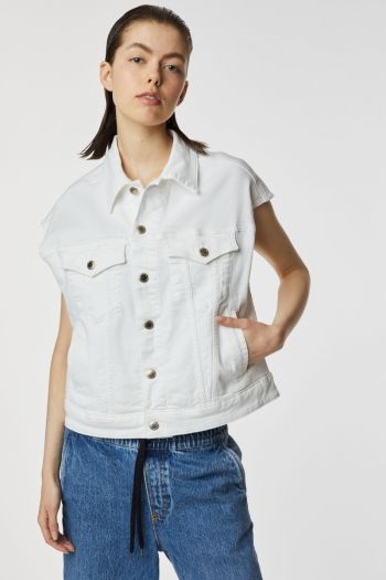 Gilet in jeans boxy Donna Bianco Gas Jeans
