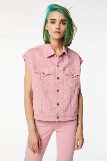 Gilet in jeans boxy Donna Rosa Gas Jeans