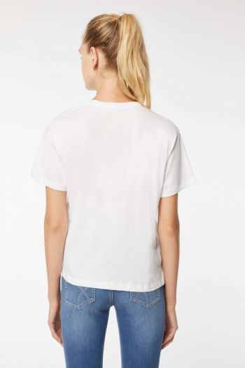 T-shirt in cotone organico Donna Bianco Gas Jeans