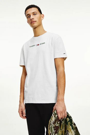 T-shirt con logo camouflage uomo Bianco Tommy Hilfiger Jeans