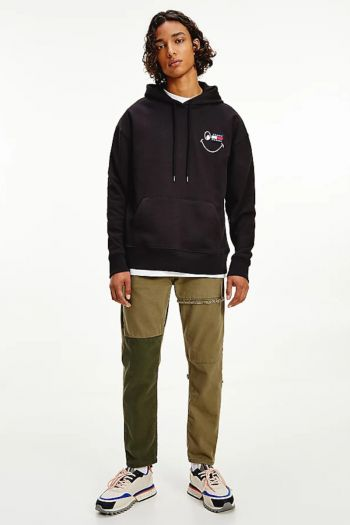 Felpa relaxed fit con logo uomo Nero Tommy Hilfiger Jeans
