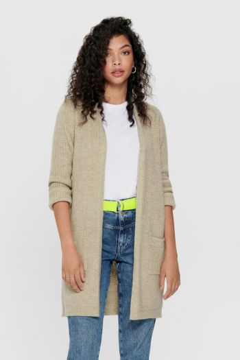 Cardigan lungo in maglia Donna Beige Only