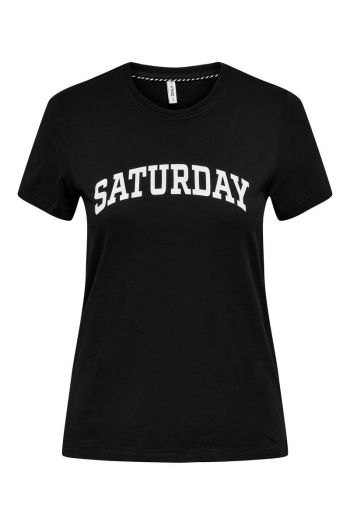 T-shirt in cotone organico Donna Nero Only