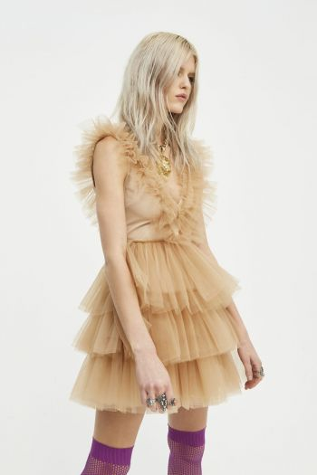 Abito in tull Rouches donna Beige Anie By