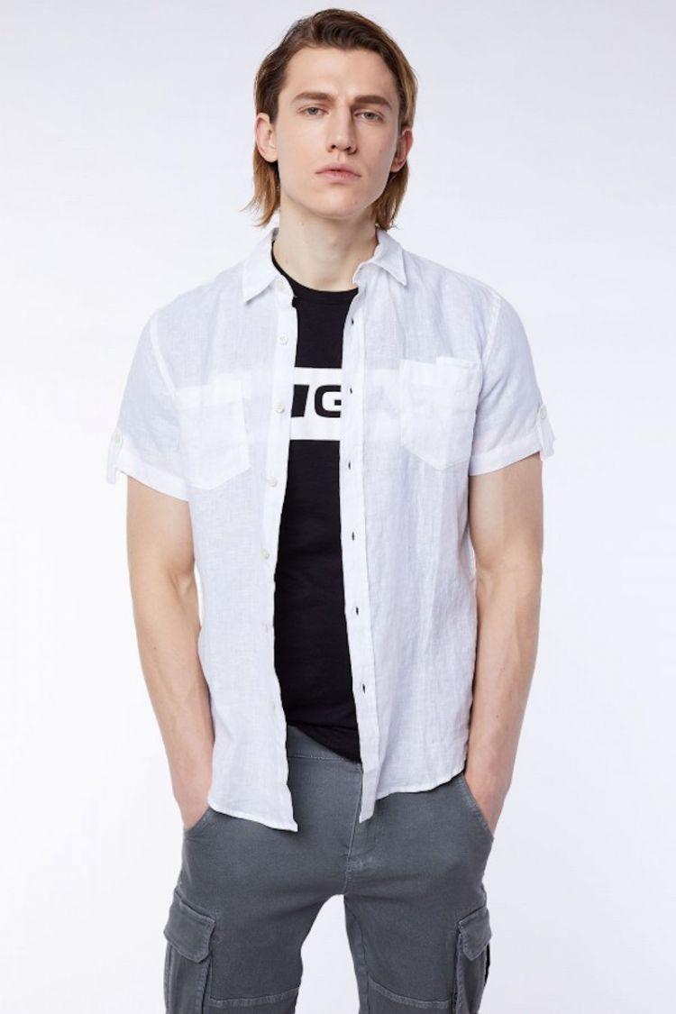 camicia corta lino gas